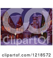 Clipart Of A Christmas Vilage On A Winter Night Royalty Free Vector Illustration