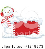 Clipart Of A Happy Christmas Snowman With A Sign Royalty Free Vector Illustration