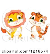 Poster, Art Print Of Cute Baby Lion And Tiger With Their Hands On Their Hips