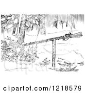 Clipart Of A Black And White Marten Trap Set Royalty Free Vector Illustration by Picsburg