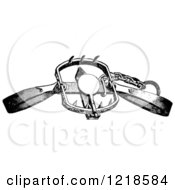 Clipart Of A Black And White Steel Animal Trap For Lions Tigers And Beacrs Royalty Free Vector Illustration by Picsburg