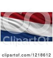 Clipart Of A 3d Waving Flag Of Netherlands With Rippled Fabric Royalty Free Illustration