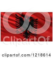 Clipart Of A 3d Waving Flag Of Albania With Rippled Fabric Royalty Free Illustration