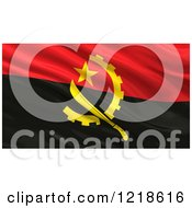 Clipart Of A 3d Waving Flag Of Angola With Rippled Fabric Royalty Free Illustration