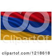 Clipart Of A 3d Waving Flag Of Armenia With Rippled Fabric Royalty Free Illustration