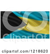 Clipart Of A 3d Waving Flag Of Bahamas With Rippled Fabric Royalty Free Illustration