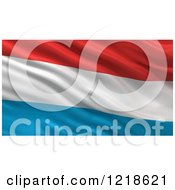 Clipart Of A 3d Waving Flag Of Luxembourg With Rippled Fabric Royalty Free Illustration