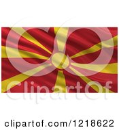 Clipart Of A 3d Waving Flag Of Macedonia With Rippled Fabric Royalty Free Illustration