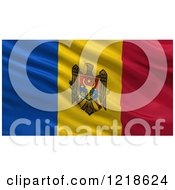 Clipart Of A 3d Waving Flag Of Moldova With Rippled Fabric Royalty Free Illustration