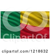 Clipart Of A 3d Waving Flag Of Benin With Rippled Fabric Royalty Free Illustration