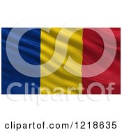 Clipart Of A 3d Waving Flag Of Romania With Rippled Fabric Royalty Free Illustration