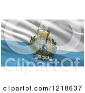 Clipart Of A 3d Waving Flag Of San Marino With Rippled Fabric Royalty Free Illustration