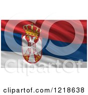 3d Waving Flag Of Serbia With Rippled Fabric by stockillustrations