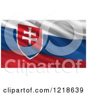 Clipart Of A 3d Waving Flag Of Slovakia With Rippled Fabric Royalty Free Illustration
