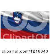 Clipart Of A 3d Waving Flag Of Slovenia With Rippled Fabric Royalty Free Illustration