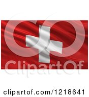 Clipart Of A 3d Waving Flag Of Switzerland With Rippled Fabric Royalty Free Illustration
