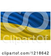 Clipart Of A 3d Waving Flag Of Ukraine With Rippled Fabric Royalty Free Illustration