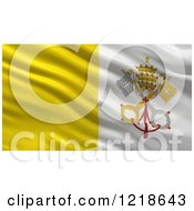 Clipart Of A 3d Waving Vatican Flag With Rippled Fabric Royalty Free Illustration