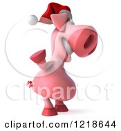 Clipart Of A 3d Christmas Pookie Pig Waving Royalty Free Illustration