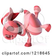 Clipart Of A 3d Christmas Pookie Pig Doing A Hand Stand Royalty Free Illustration by Julos