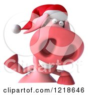 Clipart Of A 3d Christmas Pookie Pig Waving Over A Sign Royalty Free Illustration