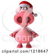 Clipart Of A 3d Christmas Pookie Pig Wearing A Santa Hat Royalty Free Illustration