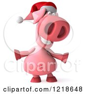 Clipart Of A 3d Happy Christmas Pookie Pig Royalty Free Illustration by Julos