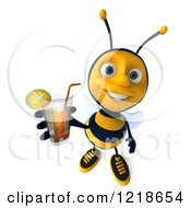 Clipart Of A 3d Bee Holding Up Iced Tea Royalty Free Illustration