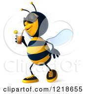 Clipart Of A 3d Bee Drinking Iced Tea Royalty Free Illustration