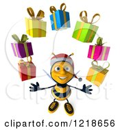 Clipart Of A 3d Christmas Bee Juggling Presents Royalty Free Illustration