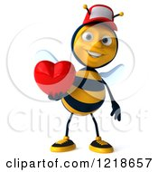 Clipart Of A 3d Bee Wearing A Hat And Holding A Heart Royalty Free Illustration