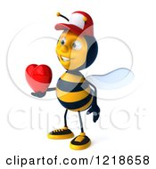 Clipart Of A 3d Bee Wearing A Hat And Holding A Heart 2 Royalty Free Illustration