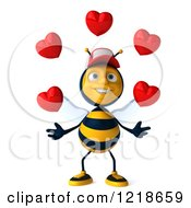 Clipart Of A 3d Bee Wearing A Hat And Juggling Hearts Royalty Free Illustration