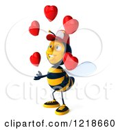 Clipart Of A 3d Bee Wearing A Hat And Juggling Hearts 2 Royalty Free Illustration