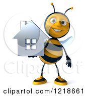 Clipart Of A 3d Bee Holding A Chrome House Royalty Free Illustration
