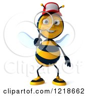 Clipart Of A 3d Bee Wearing A Hat And Looking Through A Magnifying Glass Royalty Free Illustration