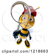 Clipart Of A 3d Bee Wearing A Hat And Looking Through A Magnifying Glass 2 Royalty Free Illustration