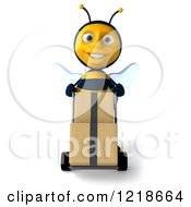 Clipart Of A 3d Bee Pushing Boxes On A Hand Truck Dolly 3 Royalty Free Illustration