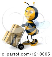 Clipart Of A 3d Bee Pushing Boxes On A Hand Truck Dolly 4 Royalty Free Illustration