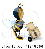 Clipart Of A 3d Bee Pushing Boxes On A Hand Truck Dolly 5 Royalty Free Illustration