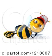 Clipart Of A 3d Bee Wearing A Hat And Resting Royalty Free Illustration