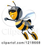 Clipart Of A 3d Bee Flying With A Fist Out Royalty Free Illustration