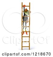 Clipart Of A 3d Business Springer Frog Hanging On A Ladder Royalty Free Illustration by Julos