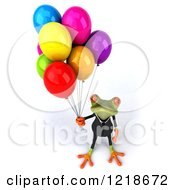 Clipart Of A 3d Business Springer Frog With Colorful Party Balloons Royalty Free Illustration