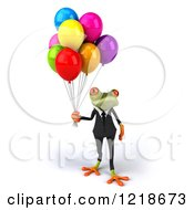 Clipart Of A 3d Business Springer Frog With Colorful Party Balloons 2 Royalty Free Illustration