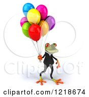 Clipart Of A 3d Business Springer Frog With Colorful Party Balloons 3 Royalty Free Illustration
