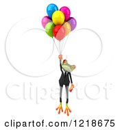 Clipart Of A 3d Business Springer Frog Floating With Colorful Party Balloons Royalty Free Illustration