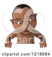 Clipart Of A 3d Black Baby Boy Looking Down At A Sign Royalty Free Illustration