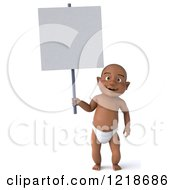 Clipart Of A 3d Black Baby Boy Standing And Holding A Sign Royalty Free Illustration