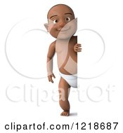 Clipart Of A 3d Black Baby Boy Looking Around A Sign Royalty Free Illustration